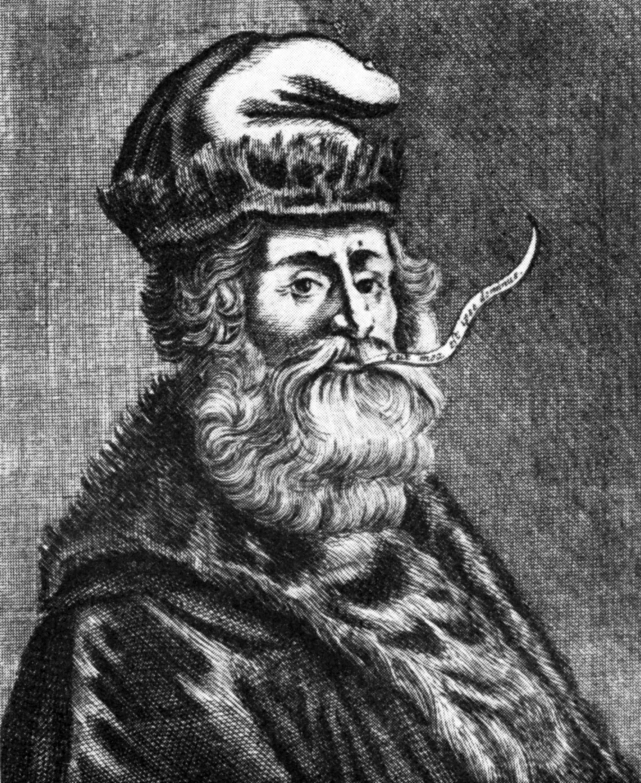 Ramon Llull. Retrat del segle XVI. Schweizerische Sammlung f. Historisches Apothekenwesen. Basilea, Suïssa. Gravat. Frimages. Ph