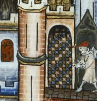 """Vie de Saint. Denis"", page 1. 1317. Scenes from the life of Saint Denis. Detail of a pilgrim entering Paris. Gothic art. Miniature. Paris. Bibliotheque Nationale. Iberfoto. Photoaisa."