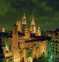 Panoramic night views of the Gothic Quarter. Cathedral, chapel of  St. Agatha and roman walls. Barcelona. Raga/Iberfoto. Photoaisa.