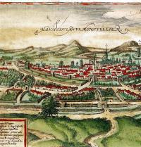 Plano de Montpelier (1572). Civitates Orbis Terrarum, de Franz Hogenberg y George Braun. Grabado renacentista. Ullstein. Photoaisa.