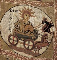 Tapestry of the Creation: Day of the Sun (<em>Dies Solis</em>). Romanesque. Catalan school. 1050-1100. Tapestry. Detail. Girona. Chapter Museum – Cathedral Treasure. J. Bedmar/Iberfoto. Photoaisa.