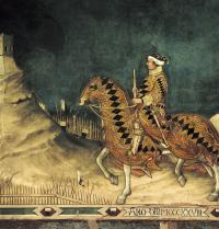 Equestrian portrait of Guidoriccio da Fogliano. 1328-1330. Simone Martini, Simone di Martino (1284-1344). Siena, Italy. Palazzo Publico. Top central detail. International gothic. Fresco. Vannini/Iberfoto. Photoaisa.