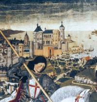 Mallorcako hiriaren errekreazioa, Jaime I-ak 1229an burutu zuen konkistan. Xehetasuna. San Jorgeko erretaula (1468), Pere Niçard-ena. Arte gotikoa. Taula gaineko tenplea. Mallorcako Palma. Elizbarrutiko museoa. P. Rotger/Iberfoto.