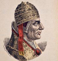 Nicolás IV (1227-1292). Papa de Roma (1288-1292). La storia dei papi del cardinale Hergenrother. 1898. Gravado. Costa/Leemage. Photoaisa.