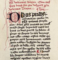 First page of a 15th century edition of Llibre de la contemplació de Déu ('Book of contemplation of God'), written by Ramon Llull between 1271 and 1274. Iberfoto. Photoaisa.