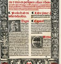 Prologue of Ramon Llull's works Blanquerna (1283-1285). Edition published in Valencia by Joan Joffre in 1521. Photoaisa.