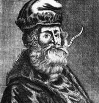 Ramon Llull. Retrato del siglo XVI. Schweizerische Sammlung f. Historisches Apothekenwesen. Basilea, Suiza. Grabado. FRimages. Photoaisa