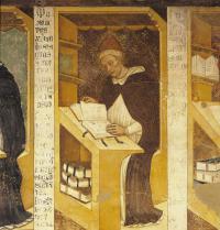 Bieito XI (1240-1304). Papa de Roma (1303-1304). Pintura ao fresco por Tommaso da Modena (1325-1379). Sala do Capitolo dei Domenicani, Seminario Vescovile, Treviso, Italia. Electa/Leemage Photoaisa.