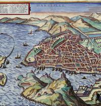 Plano de Marsella (1575). Civitates Orbis Terrarum, de Georg Braun e Frans Hogenberg. Volume II. Gravado renacentista. Ullstein. Photoaisa.