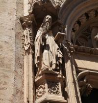 Escultura de Ramon Llull no portal maior, gótico (1391). Igrexa de Sant Miquel. Palma. IRU, S.L.