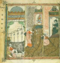 Die fünf Erscheinungen des gekreuzigten Jesus vor Ramon Llull. Breviculum, I. Thomas le Myésier, 1325. http://lullianarts.net/