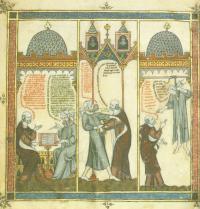 Ramon Llull learns Arabic from a slave in Mallorca. Breviculum, III. Thomas le Myésier, 1325. http://lullianarts.net/