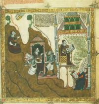 Ramon Llull beim Schreiben. Breviculum, IV. Thomas le Myésier, 1325. http://lullianarts.net/
