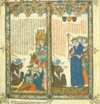 Ramon Llull s'entrevista amb el Papa. Breviculum, VIII. Thomas le Myésier, 1325