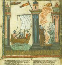 Ramon Llull se dirige a Túnez. Breviculum, IX. Thomas le Myésier, 1325.